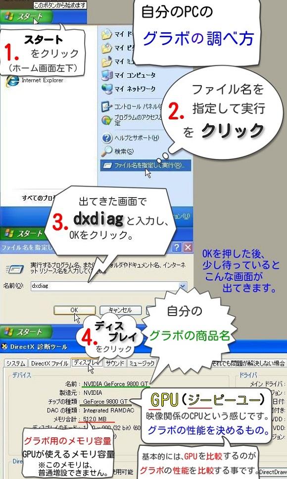 グラボの調べ方とDirectX診断ツール