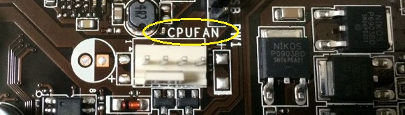 CPUFANとマザーボードに書かれている部分