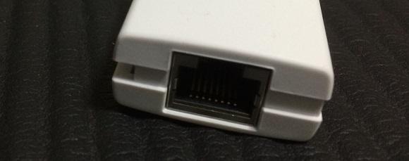 USBのLANアダプタのLANケーブルを挿す所